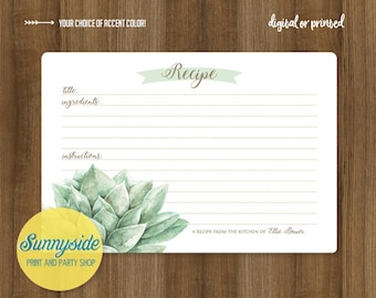 Succulent recipe card // printable or printed recipe card 3x5 or 4x6 // bridal kitchen shower recipe with succulents // personalized recipe