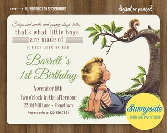 Boys Made of Birthday Invitation, Frogs / Snips Snails Puppy Dog Tails, Vintage Style Printable Birthday Invite, First 1st Birthday any age