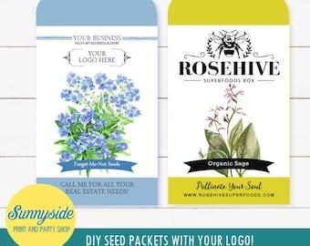 Custom Logo PRINTABLE Seed Packet design - DIY customer giveaway, favor, gift, momento, keepsake, marketing - print, cut and assemble