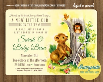 Woodland forest baby shower invitation, baby boy girl gender neutral, bear cub, baby shower invite, forest creatures owl squirrel bring book