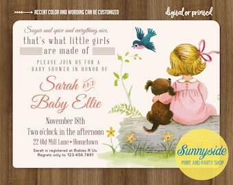 Girls Made of Baby Shower Invite - Sugar Spice Everything Nice - Vintage Style Baby Shower Invitation - printable digital file