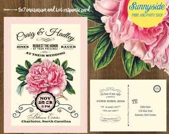 PEONY Vintage Wedding Invitation - Printable Digital Invite & RSVP - Rustic botanical letterpress style for garden wedding