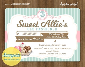 Ice cream birthday party invitation with retro vintage style in blush pink and aqua -- old fashioned ice cream parlor shop design