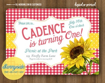 Birthday Picnic Invitation with Sunflower // Gingham Country Party Invite for Summer, Farm, Vintage style, Printable or Printed invitations