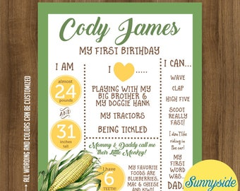 Boys Birthday Poster // Farm, Corn, Tractor // First Birthday stats favorite things // Photo Prop birthday sign chalkboard Printable 16x20