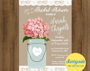 Kraft and Lace bridal shower invitation with pink hydrangeas or your choice of flower, digital or printed for rustic country wedding