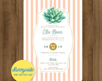Succulents Bridal Shower Invitation // printable digital wedding shower invite peach mint watercolor succulent wedding JPG PDF