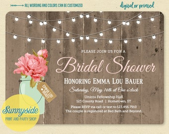 Printable mason jar bridal shower invitation with barnwood and twinkle lights mint + blush pink, rustic floral country wedding shower invite