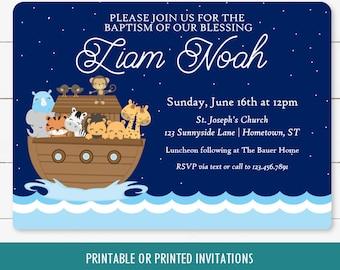 Noah's Ark Baptism Invitation, printable digital design, proofs sent within 24 hours, baby baptism, catholic printable, baby boy christening
