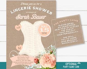 Bridal Shower Lingerie Invitation - Pink Blush Corset Lingerie Shower Invite with burlap and optional panty game, printable digital file
