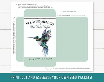 Hummingbird printable funeral seed packet, DIY memorial favor, keepsake momento, fill with wildflower seeds, celebration of life