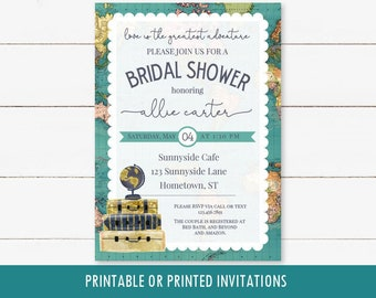 Travel Adventure Bridal Shower Invitation, printable digital invite, traveling theme with luggage and globe, map, long distance wedding