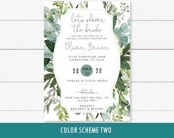 Greenery Bridal Shower Invitation, printable invite with eucalyptus, wedding shower, modern foliage watercolor, bridal or wedding brunch
