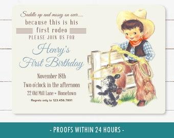 First Birthday Boys Rodeo Invitation, printable 1st birthday rodeo invite, rodeo party, western vintage cowboy, digital invite