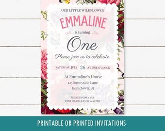 Wildflower Girl's 1st first birthday printable invitation, pink, gold, navy, can be customized for any age, wild flower party, digital