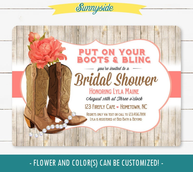 Cowgirl boots and bling invitation // bridal shower invite // image 0