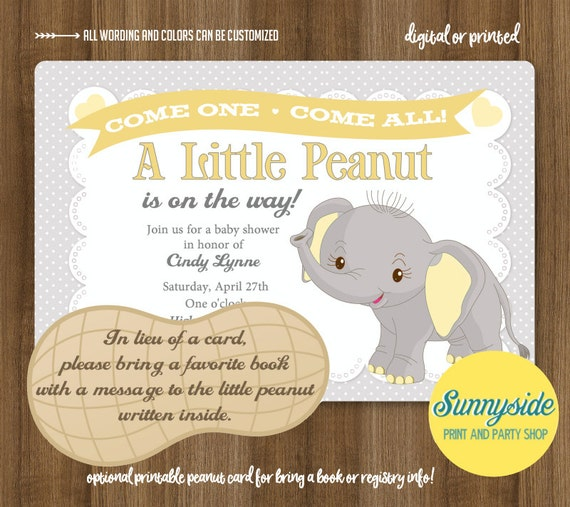 Little Peanut Baby Shower Invitation Printable Elephant Gray Yellow