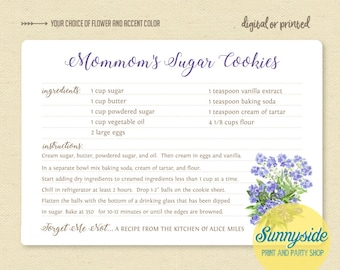 Custom memorial recipe card // forge t me not family recipe gift // funeral favor // sentimental gift // personalized printable recipe