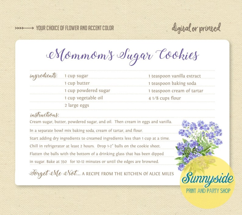 Custom recipe card // forget me not family recipe gift // image 0