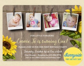 Sunflower Photo Birthday Party Invitation, my sunshine, Rustic Birthday Invite, 1st Birthday Invitation, Printable