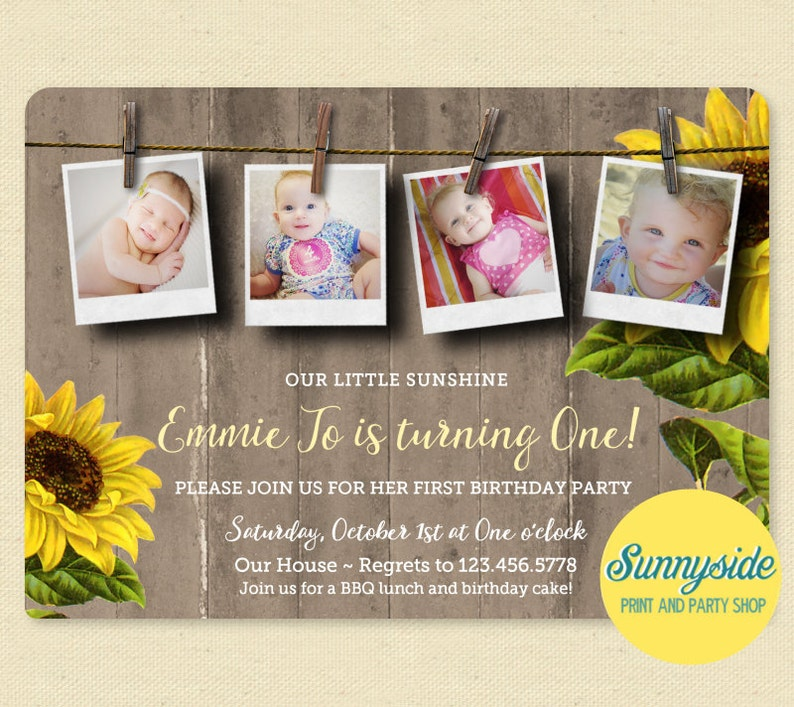 Sunflower Photo Birthday Party Invitation my sunshine Rustic image 0