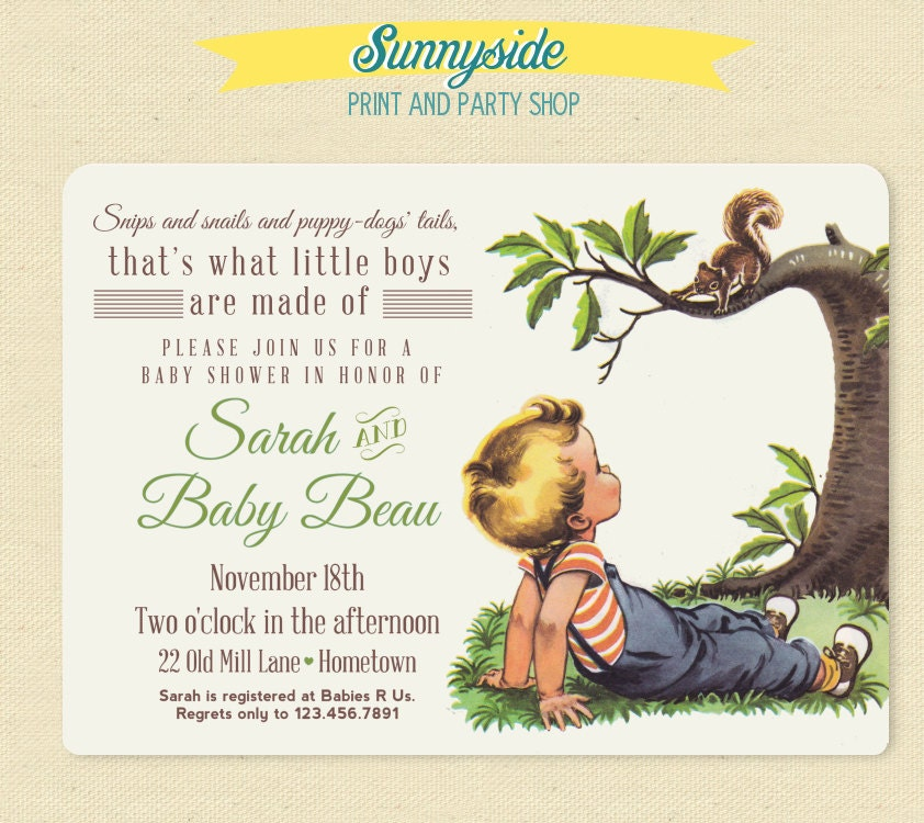 Boys Made Of Baby Shower Invite Snips Snails Puppy Dog Tails Etsy