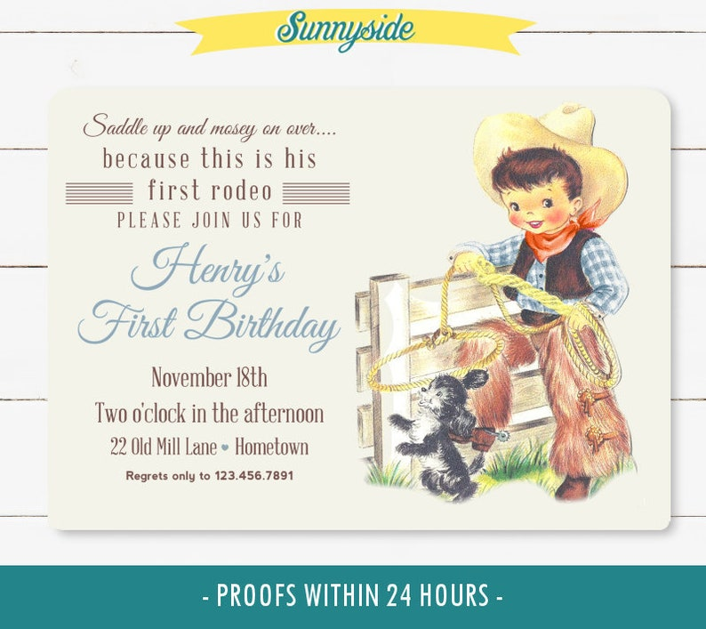 First Birthday Boys Rodeo Invitation printable 1st birthday Brown/Brunette