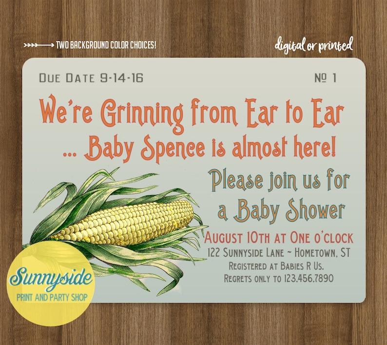 Farm Baby Shower Invitation with vintage sweet corn  baby boy image 0