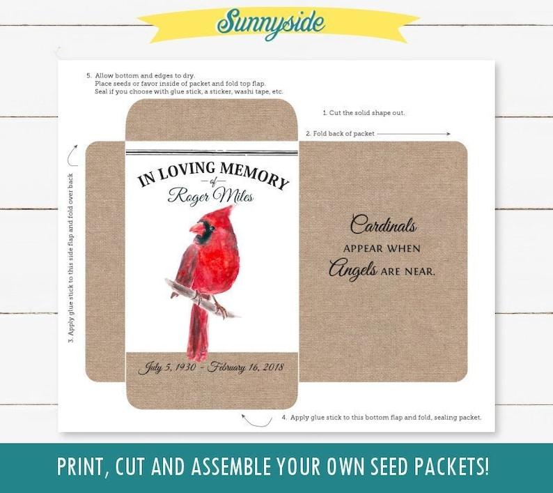 DIY printable memorial seed packet with Cardinal bird in image 0