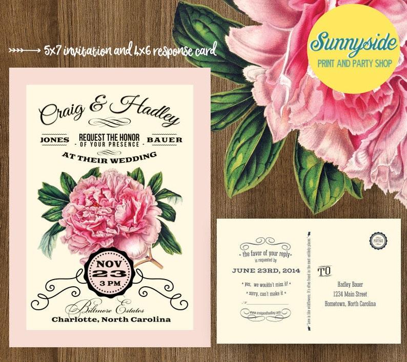 PEONY Vintage Wedding Invitation  Printable Digital Invite & image 0