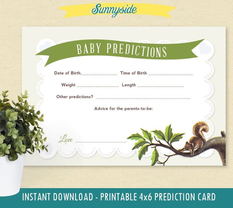 Baby Boy Shower Predictions and Advice Card  Instant Download image 0