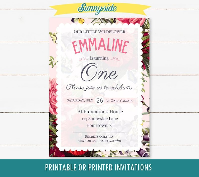 Wildflower Girl's 1st first birthday printable invitation image 0