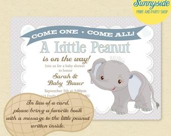 Baby Elephant / Little Peanut Baby Shower Invitation - Boys Printable Invite in Blue