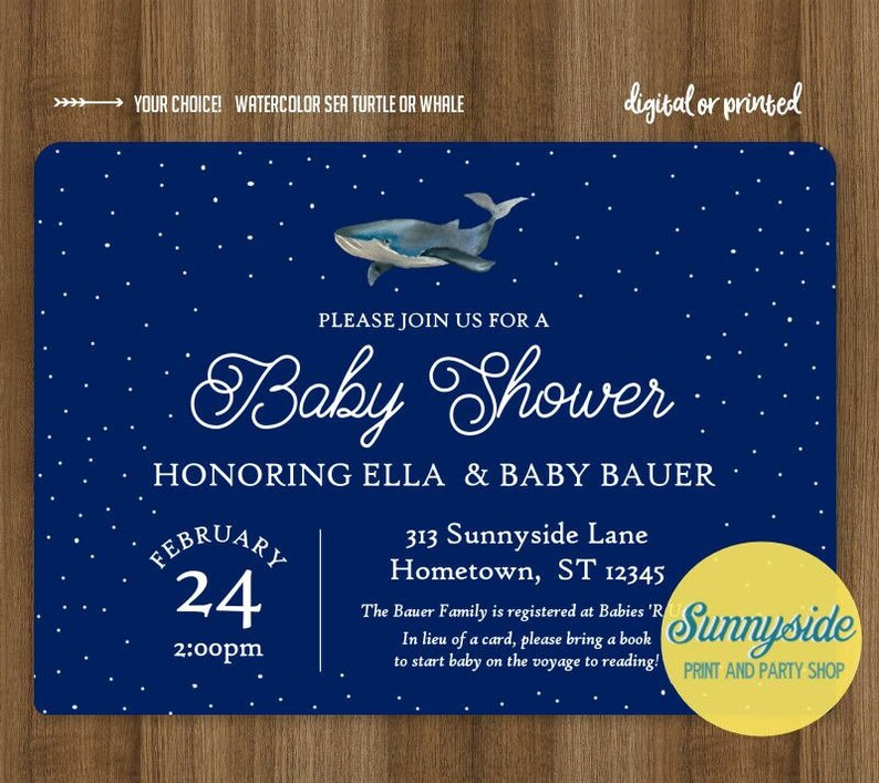 Ocean printable baby shower invitation with watercolor sea Whale