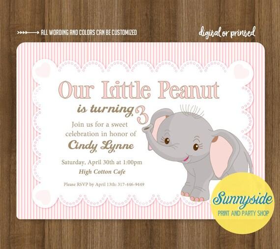 Elephant Theme 3rd Birthday Party: Little Peanut Birthday Invitation, Girls Elephant Party