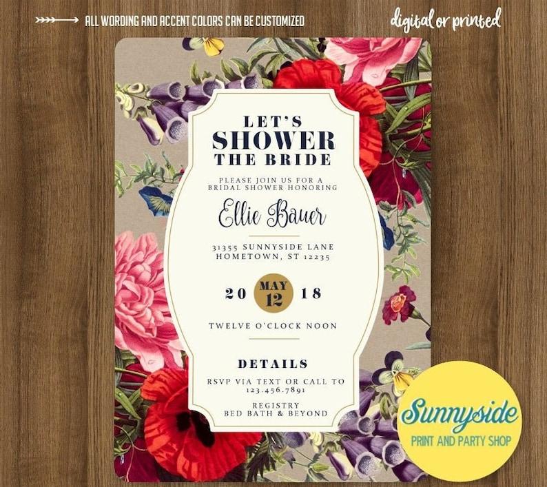 Printable floral botanical digital bridal wedding shower image 0