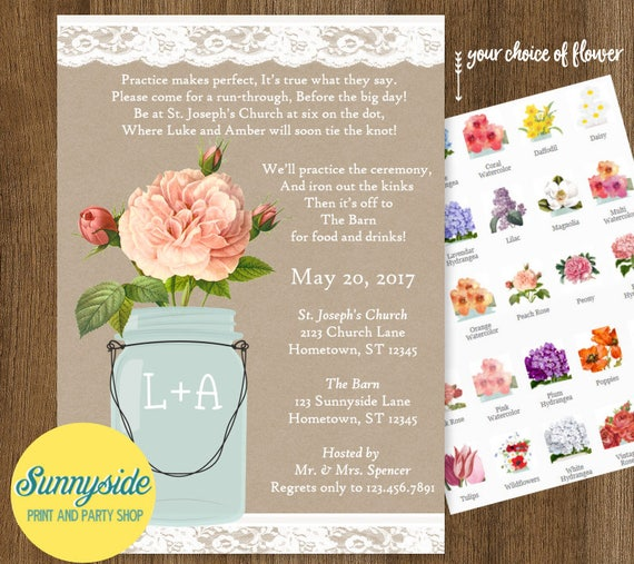 Rehearsal Dinner Invitation With Poem Mason Jar And Lace You