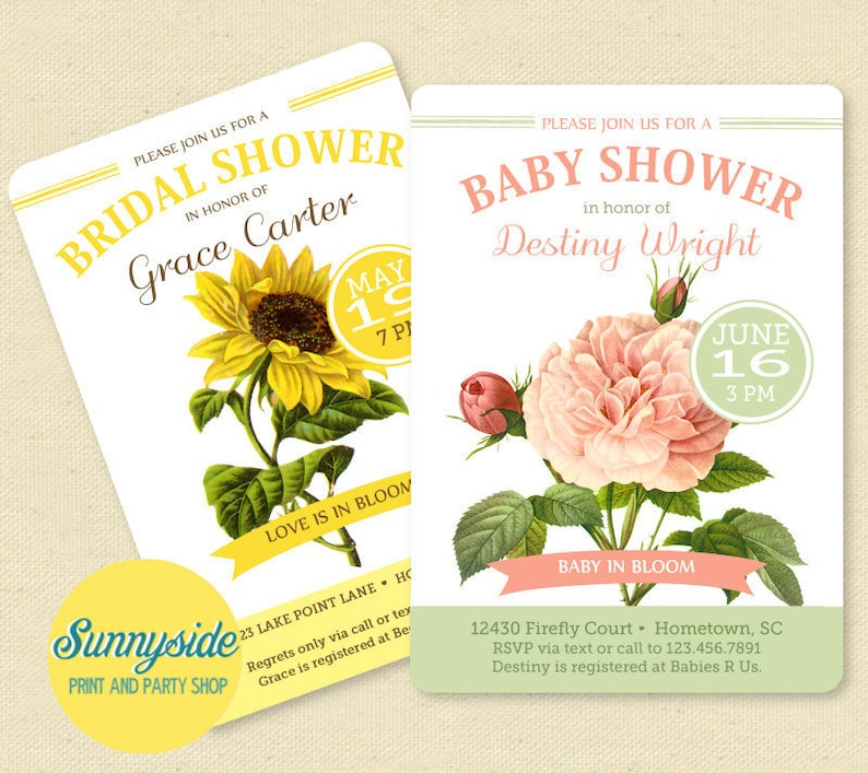 Garden shower printable invitation you choose flowers and image 0