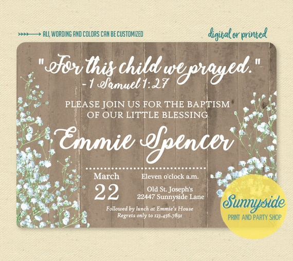 For This Child We Prayed Baptism Invitation Samuel Bible Verse Scripture Baby Invite Printable Or Printed Rustic
