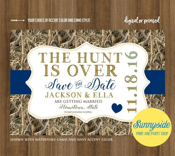 THE HUNT Is OVER Camo Save The Date Card // Camouflage