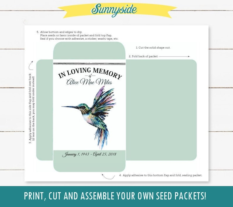 Hummingbird printable funeral seed packet DIY memorial favor image 0