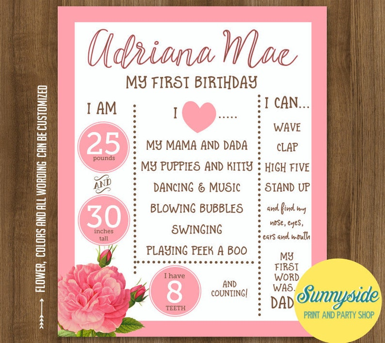 Birthday Poster Printable milestone birthday stats floral image 0