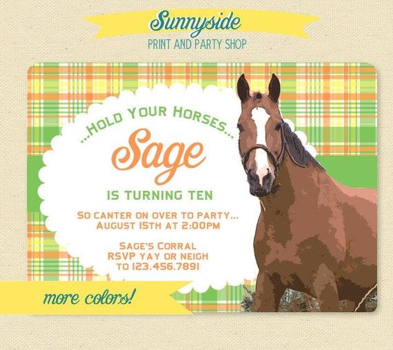 Girls Horse Birthday Invitation