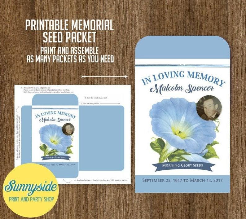 Printable memorial seed packet PDF file  diy remembrance image 0