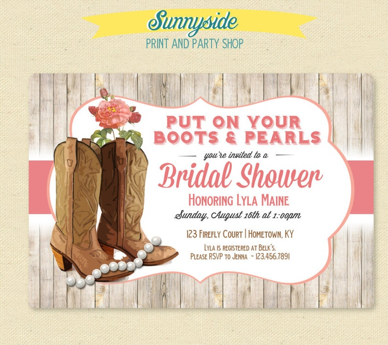 e1293532c939 Boots   Pearls Bridal Shower Invitation Country Cowgirl
