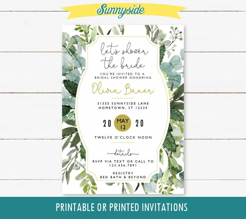 Greenery Bridal Shower Invitation printable invite with Color Scheme 1