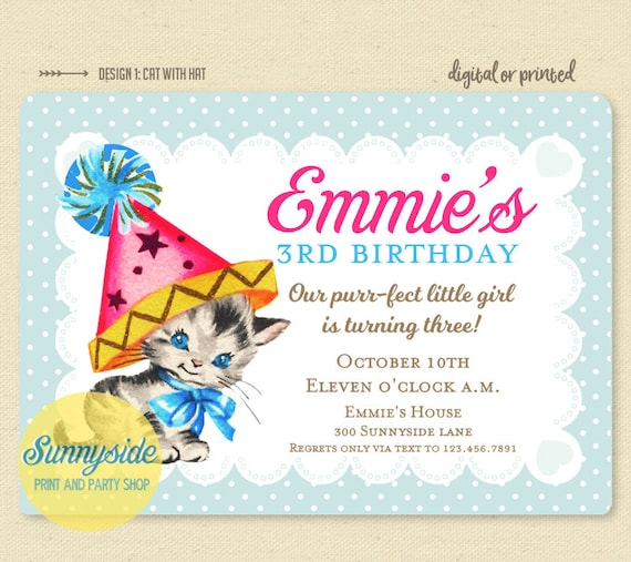 cat kitten birthday invitation printable girls 1st 2nd 3rd birthday