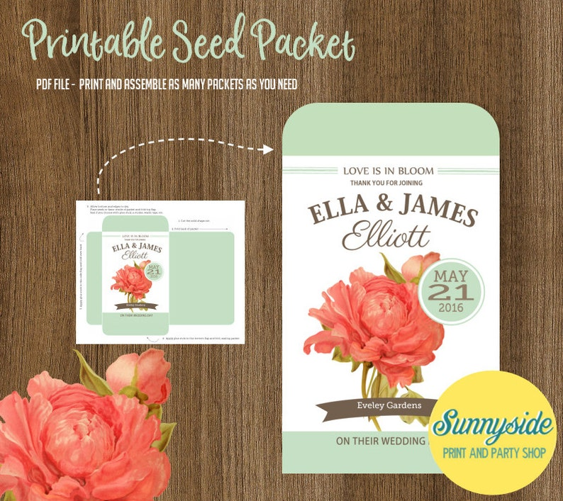 70a2d195f915 Coral Peony Seed Packet Favor DIY Bridal Shower   Wedding