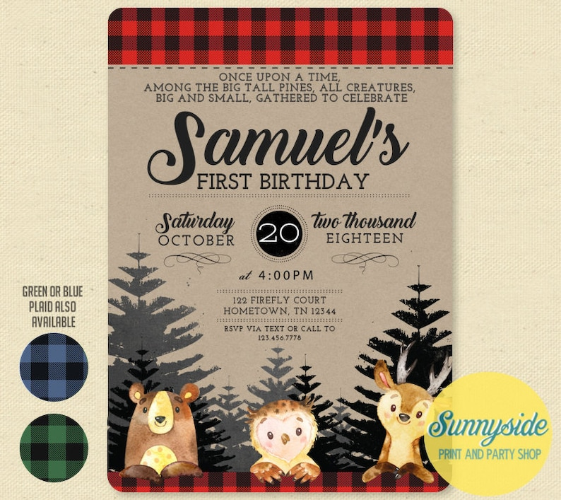 Woodland forest animals First Birthday Party Invitation with image 0