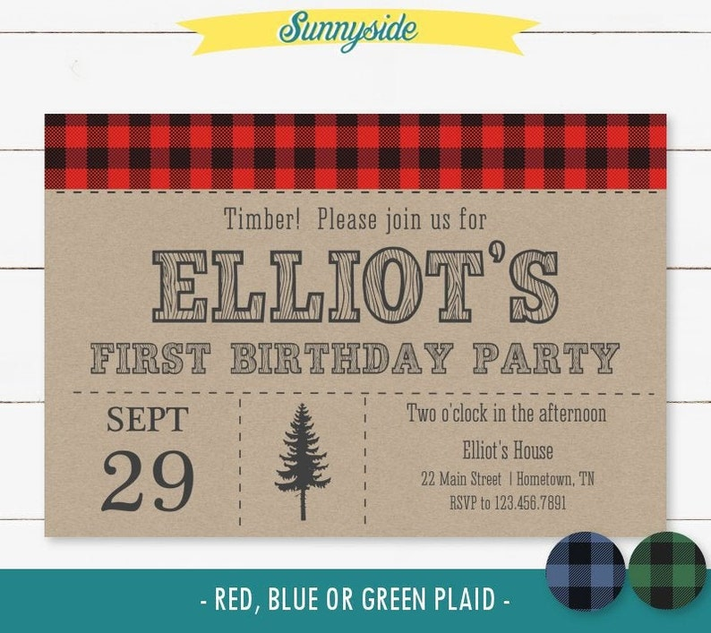 Lumberjack printable birthday party invitation first image 0
